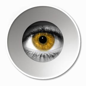 eye orange looking through the peephole